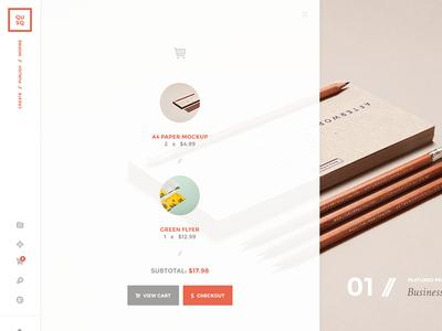 QUSQ typography portfolio creative sidebar sidenav widgets cart checkout menu