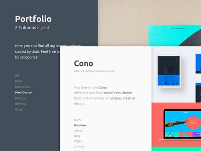 Cono filter home classic clean creative portfolio