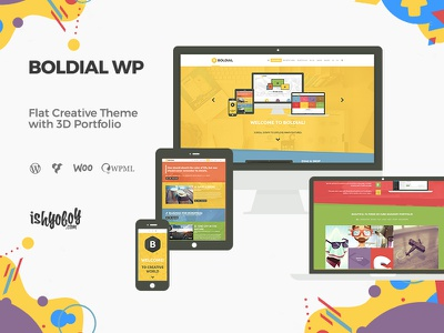 Boldial - Flat Creative Theme with 3D Portfolio mojomarketplace wordpress theme responsive 3d portfolio funky clean colorful flat