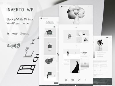 Inverto - Black & White Minimal WordPress Theme unique personal blog portfolio clean greyish black  white minimal