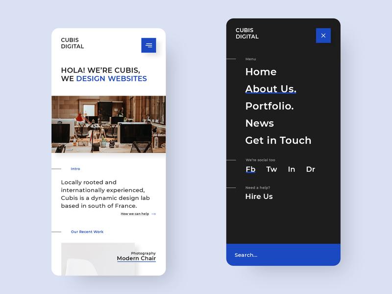 Cubis mobile concept responsive flat clean minimal flat design web design mobile menu concept mobile