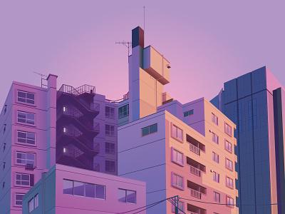 Tokyo city purple japan tokyo design graphic vector illustrator illustration