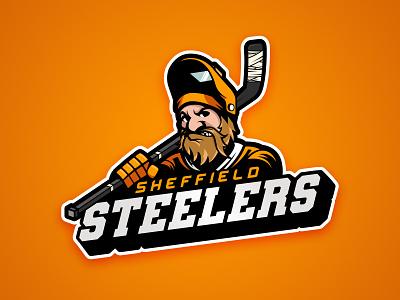 Sheffield Steelers Ice Hockey black logo beard sport branding icon illustration vector yorkshire league elite oranges sports logo brand design graphic steel steelers sheffield ice hockey