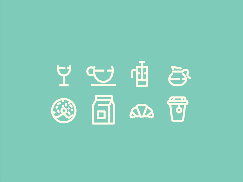 Cafe Icons branding brand vector drink food coffee cafe green illustration design graphic iconography icon