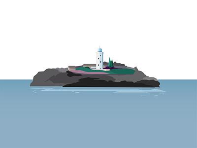 Godvrey Lighthouse blue design graphic vector illustration beach sea lighthouse cornwall godrevy