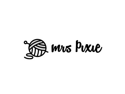 Mrs Pixie Creations vector icon white black crafts wool illustration design graphic brand logo