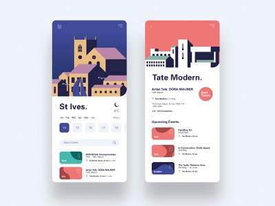 Events app events tate stives web app ux ui sea blue illustration vector graphic design cornwall