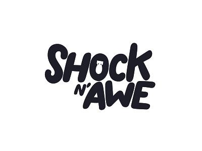 Shock N' Awe flat black typography icon illustration vector graphic design logo branding brand