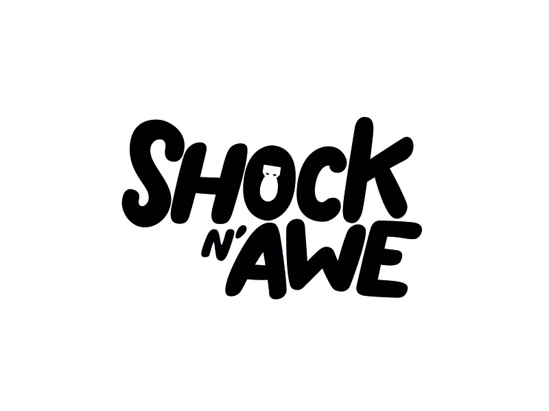 Shock N' Awe flat black typography icon illustration vector graphic design logo branding brand