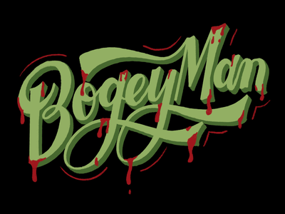 Bogeyman word procreate typography halloween lettering letter illustration design
