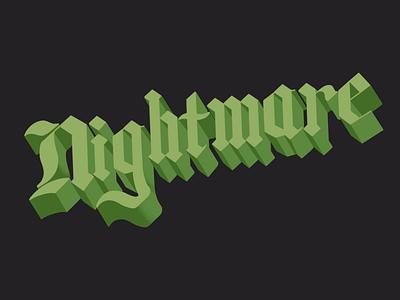 Nightmare word typography procreate lettering letter illustration halloween design