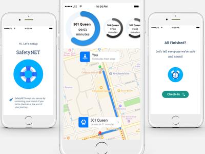Journey App Design public-transport ttc app safety ux ios