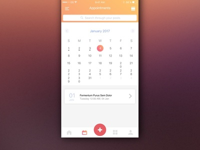 Simple appointment calendar calendar diary appointment medical ios