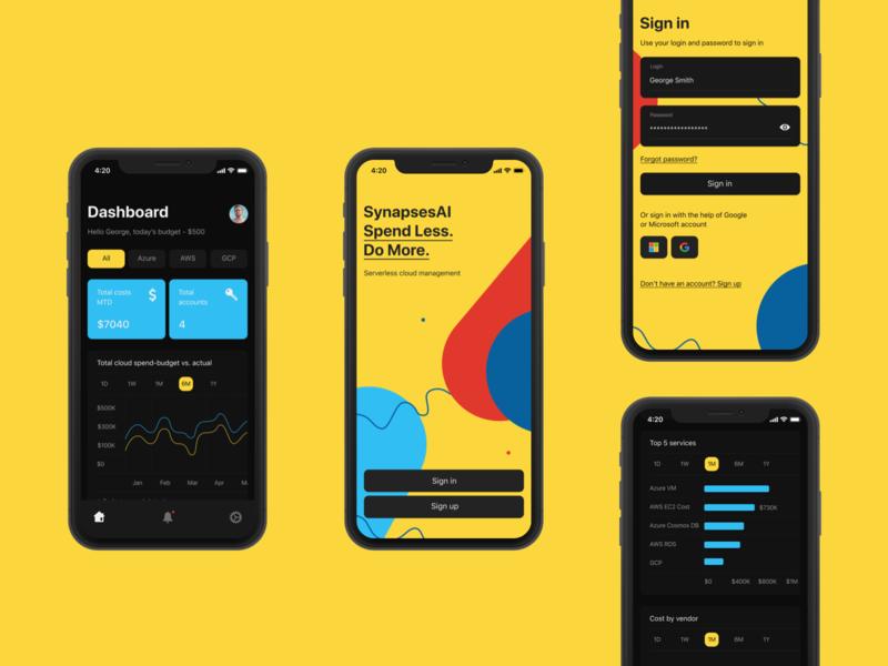 synapsesai dashboard analysis cloud app severless app mobile app mobile ux ui design