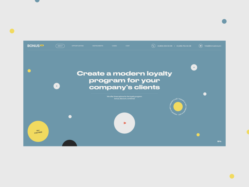 Bonus plus loyalty program bonus concept clean site web ux ui design