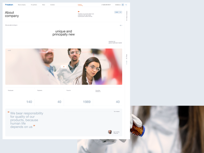 Treaton minimalistic site clinic hospital clean medical company medical equipment medicine web ux ui design