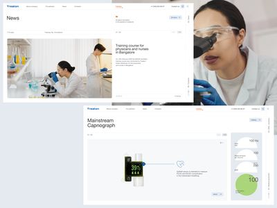 Treaton - main product device news hospital clinic medical equipment medicine medical minimalistic clean site web ux ui design