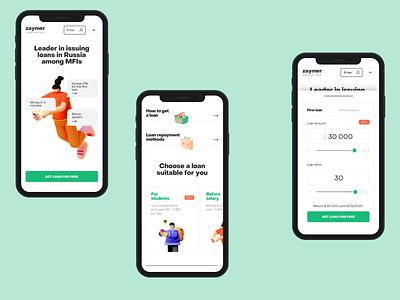 Online loans credit loans minimalistic concept clean site web ux ui design