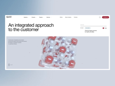 Git ver.2 visualization 3d corporate company solutions integration minimalistic concept clean site web ux ui design