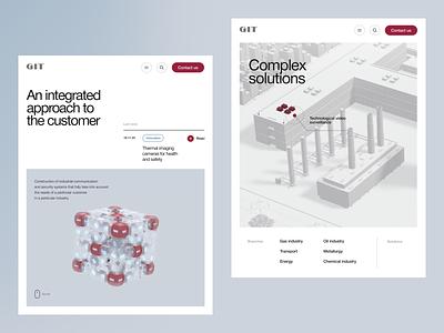 Git map interactive 3d industrial factory device solutions minimalistic concept clean site web ux ui design