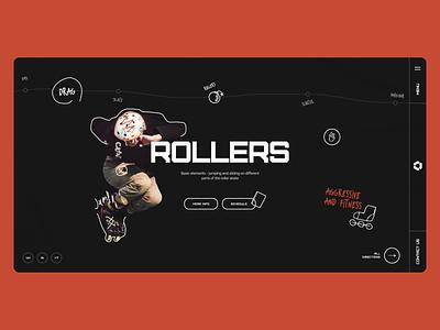 Sportex main rollerskate illustrations adrenaline directions drag slider rollers sport site web ux ui design