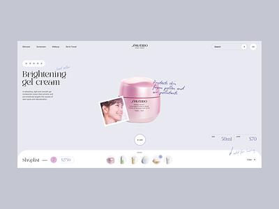 Shiseido concept skincare store beaty cosmetic minimalistic concept clean site web ux ui design
