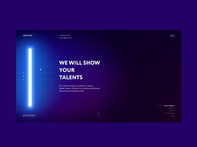 Spectrum concept education training uvlamp ultraviolet business concept clean site web ui design