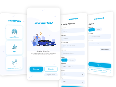 Ride Sharing Sign In Sign Up UI UX Design clean design ui user interface designer user experience photoshop adobe xd user interface