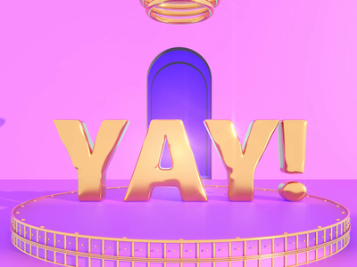 YAY! artwork art animations sunny day sunny happy yay purple light pink dribbble illustration loop gold redshift3d animation 3d render cinema4d c4d