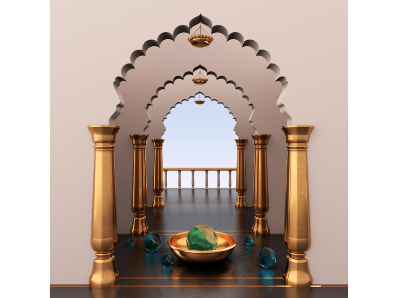 Somewhere in Rajasthan redshift3d mdcommunity rajasthan palace pink gold dribbble illustration 3d render design cinema4d c4d