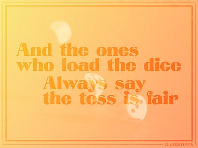 Hadestown Lyric Poster illustrator music broadway lyrics gradient design typography graphic design
