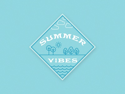 Summer Vibes Badge | Weekly Warm-up badge graphic iconography trees illustrator blue nature summer badge badge summer illustration vector logo typography design graphic design