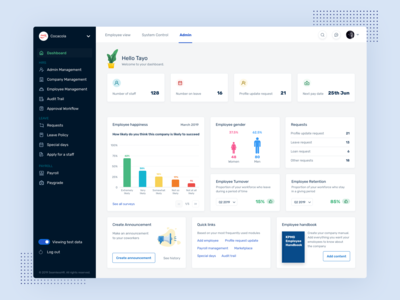 Dashboard for HR Admin