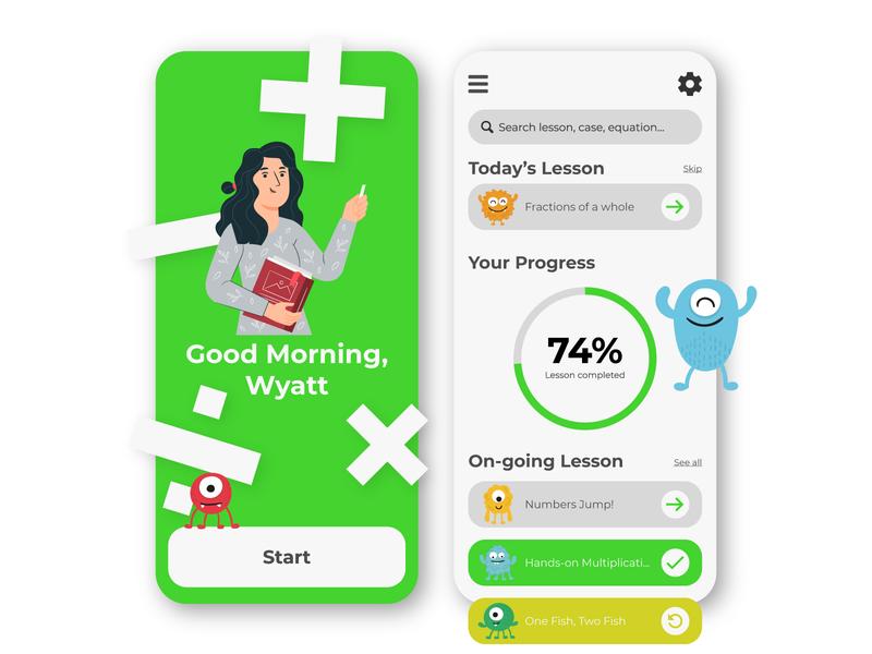 Math Lesson App for Kids appdesign illustrator userexperience creative graphicdesigner designer logo branding userinterface webdesign uxdesign illustration designinspiration uidesign uiux ui graphicdesign graphic design behance dribbble