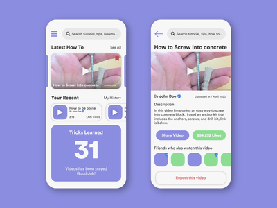 How To Video App design app how to dad video app solid color solid flat simple green blue uiux uxdesign uidesign design art behance dribbble