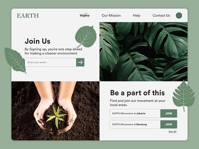 Earth Website Design vector dailyui typography design branding illustration website earth uiuxdesign uxdesign uidesign ux uiux ui behance dribbble