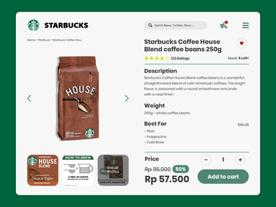 Starbuck Coffee Beans Ordering Page design page order white green beans coffee starbucks websitedesign website web jakarta uiuxdesign uxdesign uidesign ux uiux ui dribbble behance