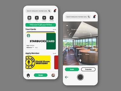 Loyalty Card Membership App Design dailyui typography branding illustration design scan scanning membership card membership ui design app loyalty app uxdesign uiuxdesign uidesign ux uiux ui behance dribbble