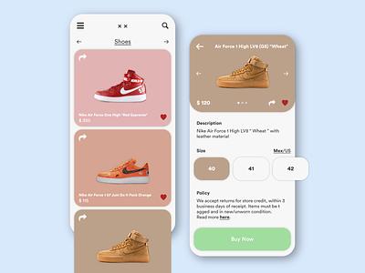 Shoe Store Mobile App Design vector dailyui typography branding illustration uiux ux ui simple design design moblieapp sneakers shoes designer behance dribbble