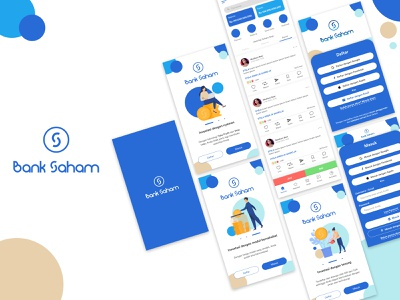 Bank Saham - Invest in the best way dribbble app indonesia designer clean design inspiration blue ux ui illustration branding design bank invest indonesia