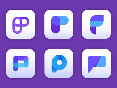 P - Chat Logo bubble talk chat fusion logomark branding brand icon app symbol mark logo