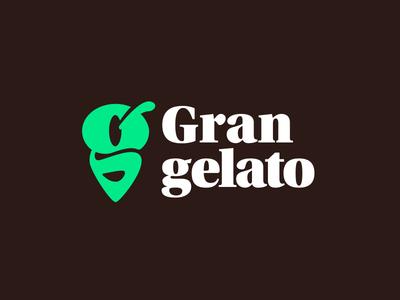 Gran Gelato logo v1 gelato ice cream g logomark branding brand icon app symbol mark logo