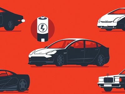 History of cars II flat illustrator illustration electric hybrid prius mercedes tesla vector cars car