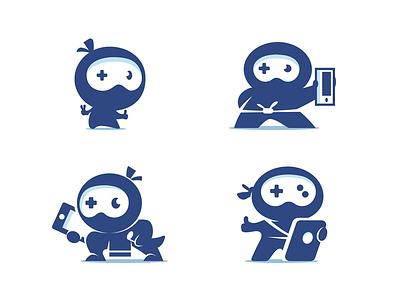 Ninja Gamer Logo controller mascot identity play game mobile app character ninja mark logo