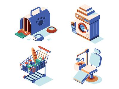 Isometric Icons services laundry dentist vet retail illustrator isometric vector icon