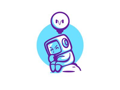 The Thinker Robot identity brand idea thinking illustration cute robot mark logo