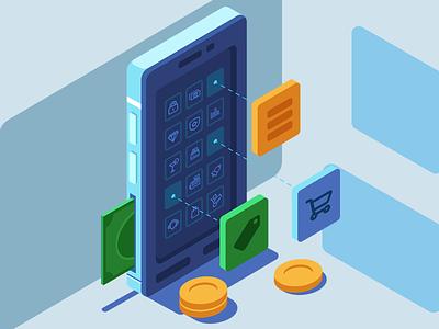 Making Money with Apps development application app phone design flat adobe illustrator vector illustration