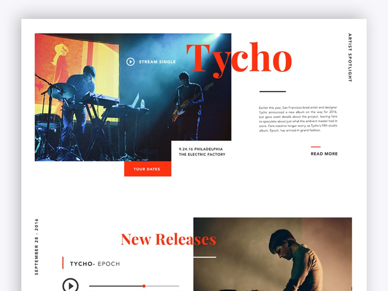 Tycho concept web design personal project debut music tycho type ux ui web