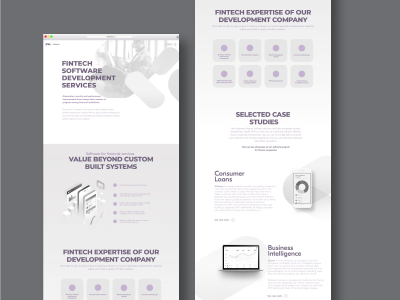 Landing page for Financial Software Development Services