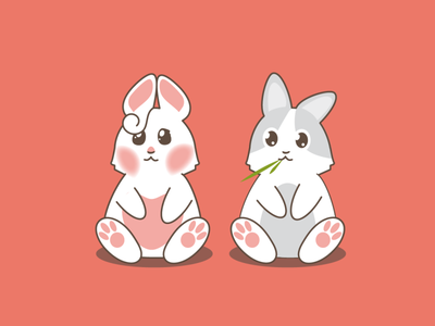Cute Bunny illustration kawaii vector vector design cute app design rabbit cartoon character bunny icons mascotte graphic design